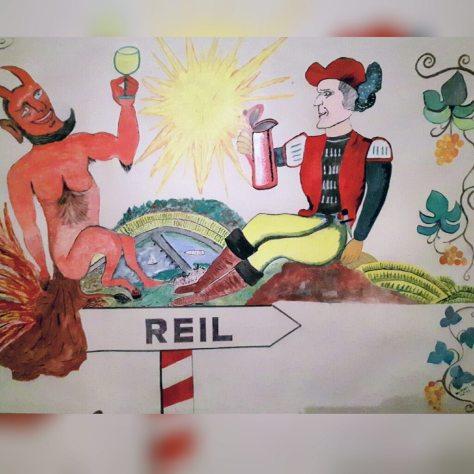 Die Reiler Sage vom Pfalzgrafen und dem Teufel (Gemälde in unserer Probierstube)